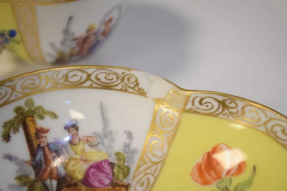 Two Dresden cups and saucers and Vienna style can and saucer - Image 5 of 7