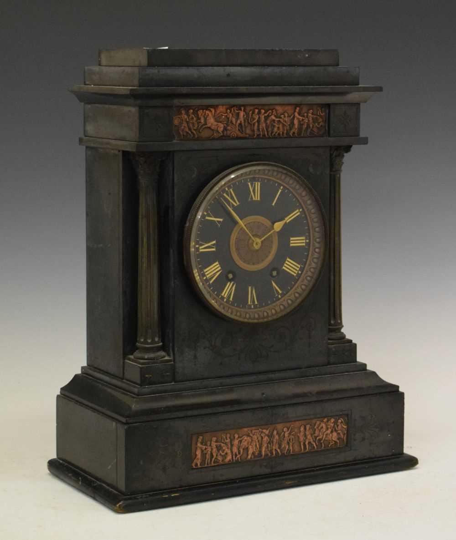 Large French black slate mantel clock