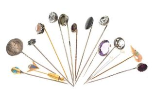 Collection of unmarked hat and stick pins