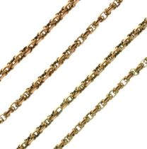 Yellow metal long guard or muff chain
