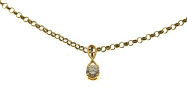 18ct gold, diamond single stone pendant