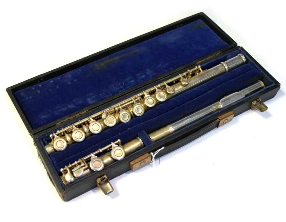 Cased nickel plated flute by Rampone & Cazzani, Milan