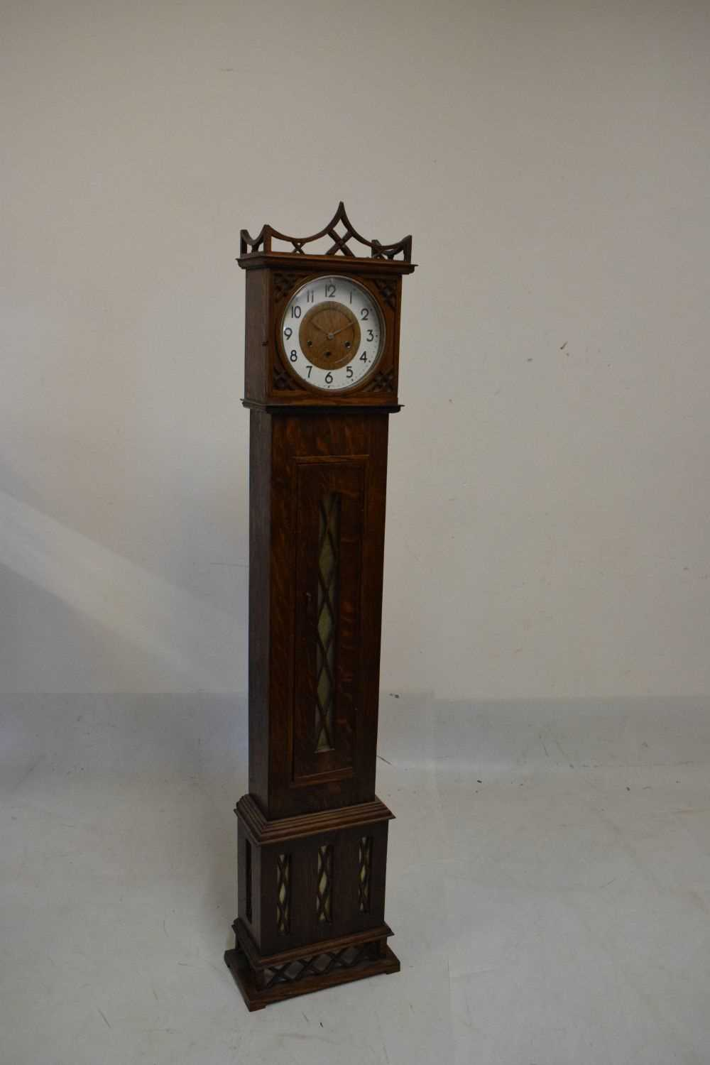 Early 20th Century oak-cased grandmother clock - Image 2 of 5