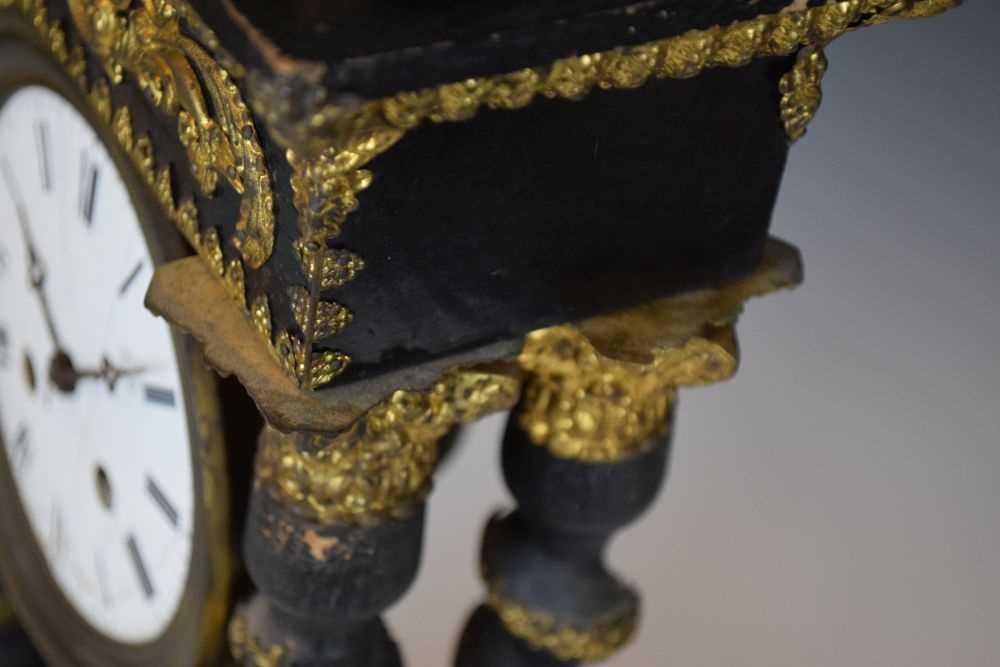 19th Century French ebonised portico clock - Image 7 of 13
