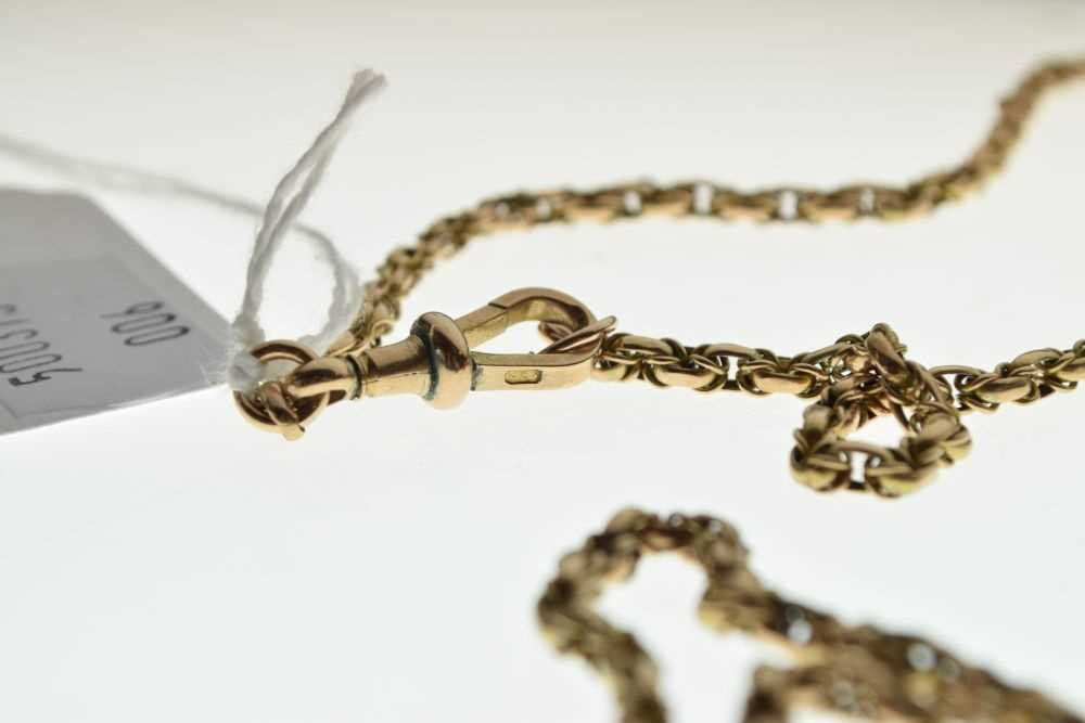 Yellow metal long guard or muff chain - Image 3 of 3