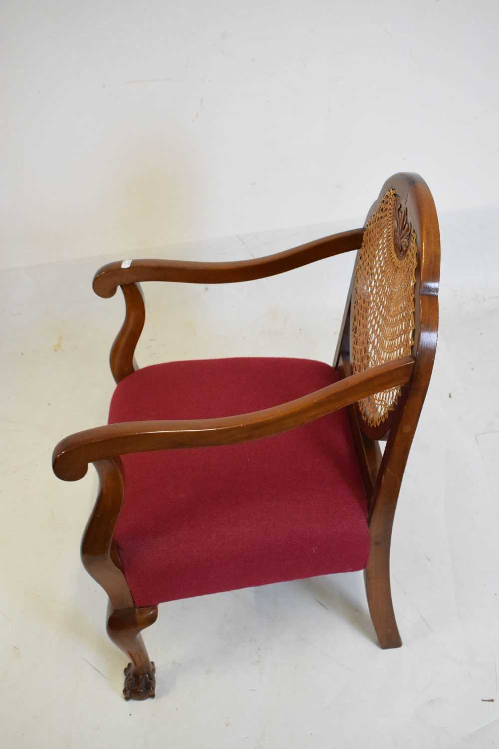 1920's mahogany and cane bergere chair - Image 3 of 5