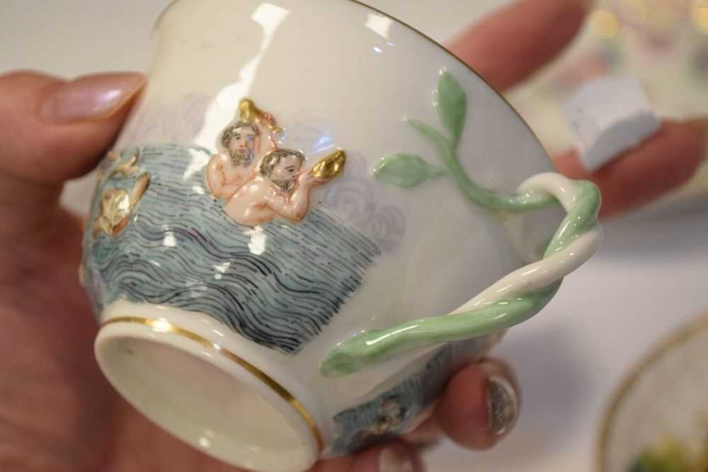 Three Capodimonte cups and saucers - Image 7 of 8