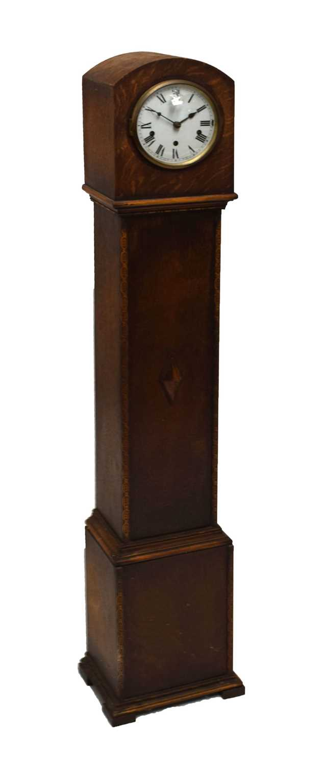 Oak-cased 'grand-daughter' clock with chiming movement