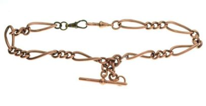9ct rose gold Albert with fancy-link chain