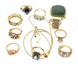 Group of 9ct gold gem-set rings