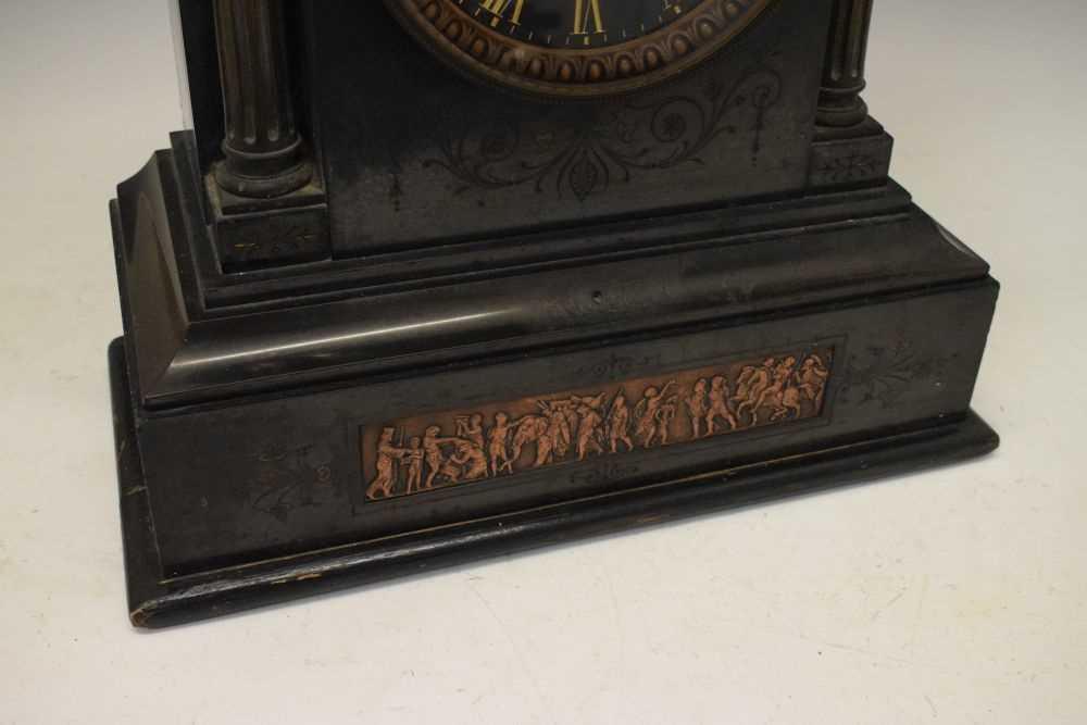 Large French black slate mantel clock - Image 3 of 7