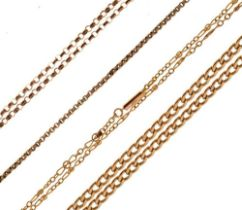 Quantity of 9ct gold and yellow metal chains