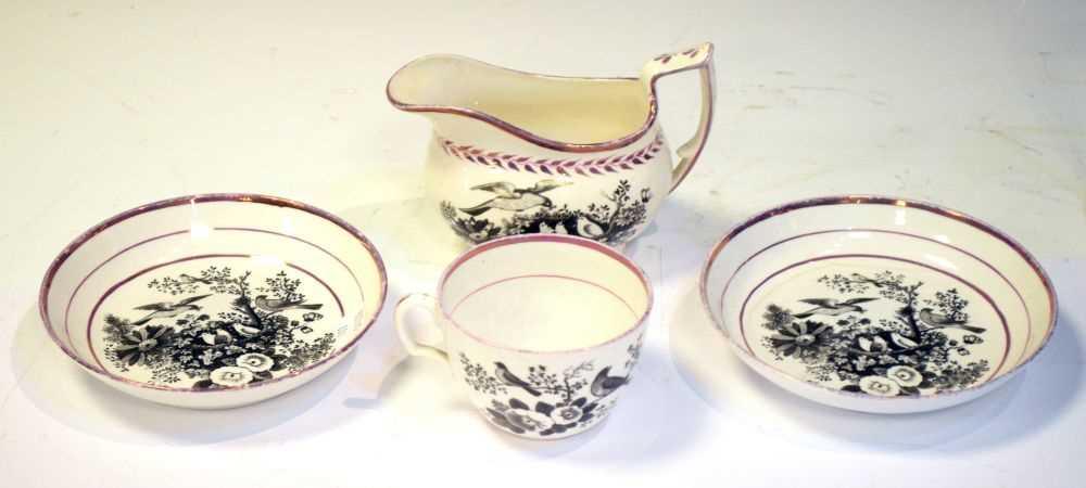 Puce lustre bat printed tea wares - Image 9 of 12