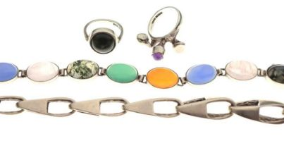 Silver cabochon-set bracelet, two stone set rings