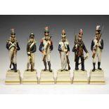 Six Italian ceramic Napoleonic military figures by Cacciapuoti