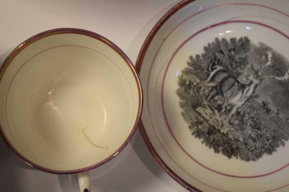 Puce lustre bat printed tea wares - Image 3 of 12