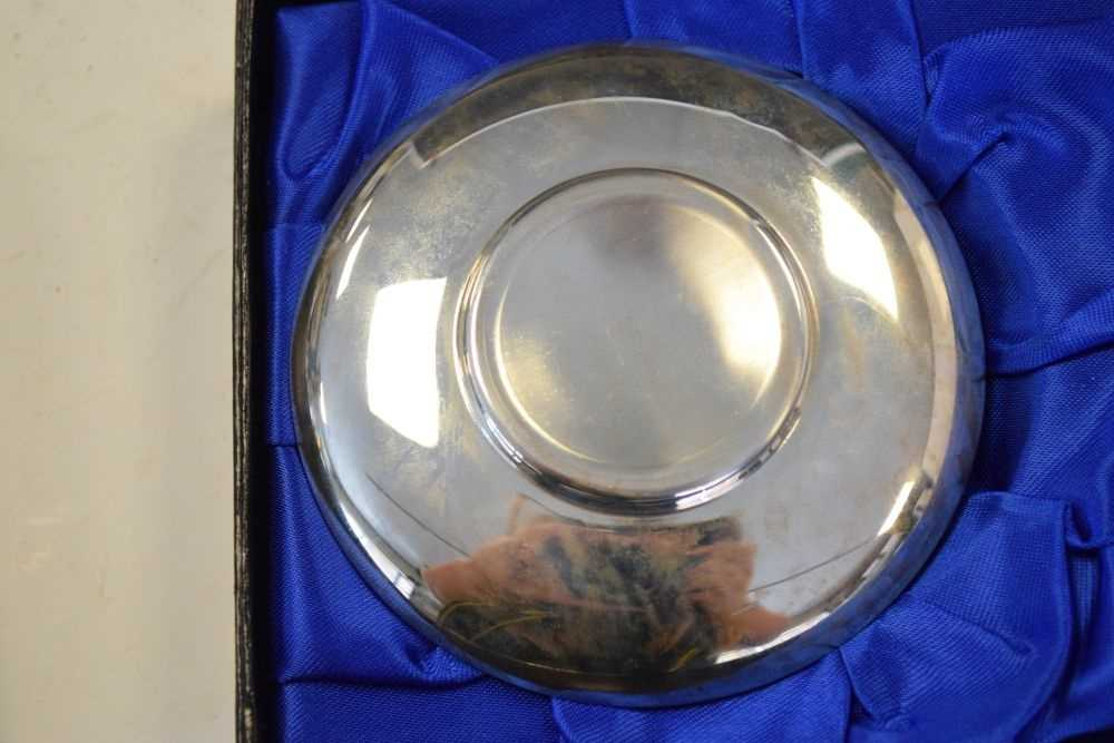 Pair of Elizabeth II Britannia standard silver pin dishes commemorating the 300th anniversary - Image 6 of 6