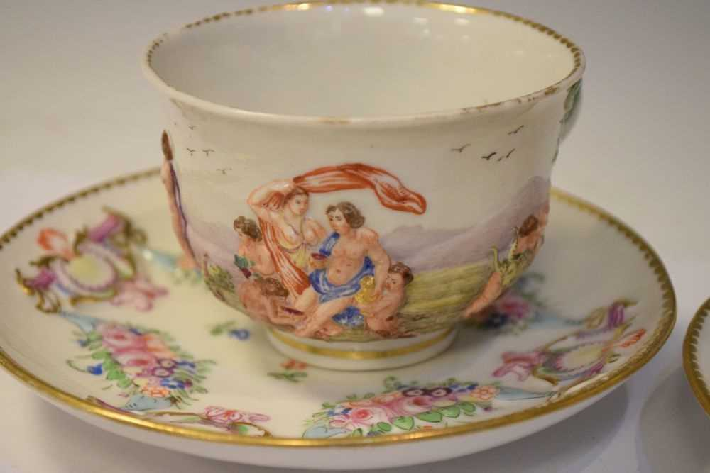 Three Capodimonte cups and saucers - Image 5 of 8
