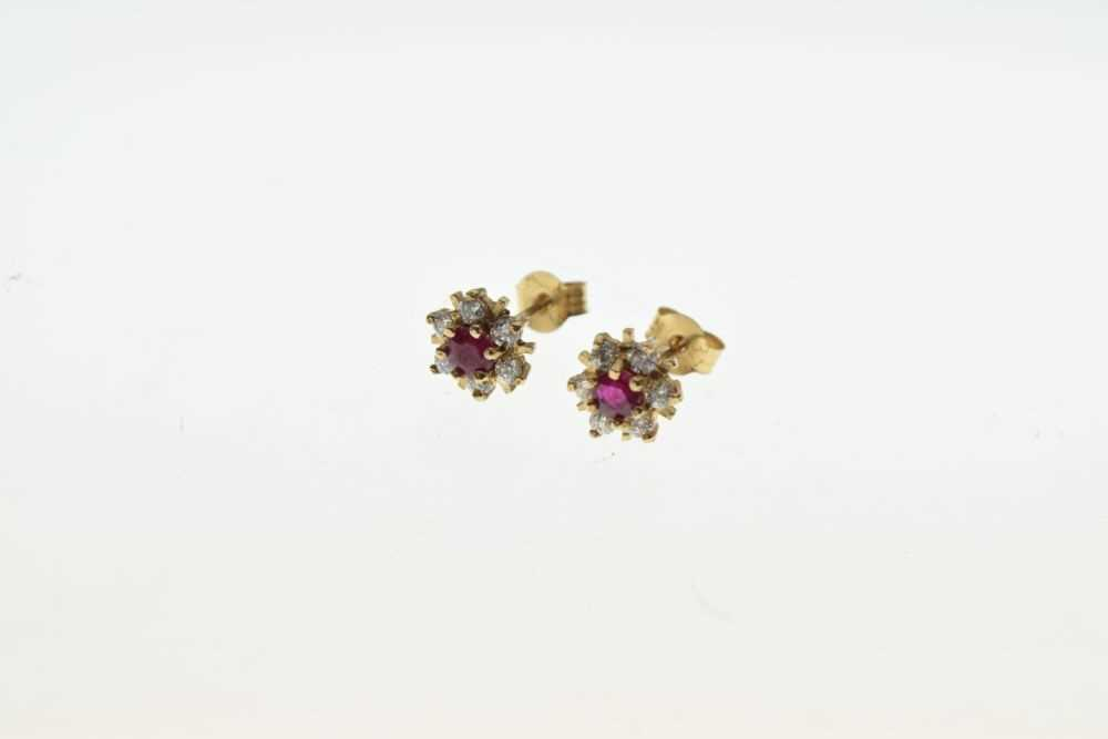 Pair of yellow metal cluster ear studs, - Image 3 of 4