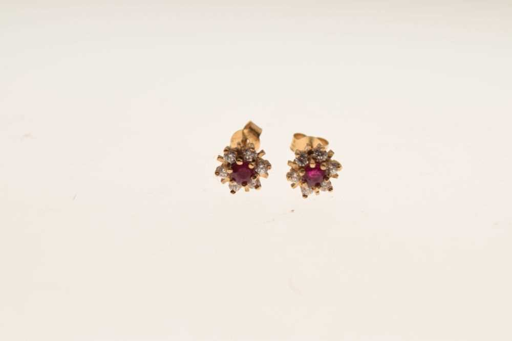 Pair of yellow metal cluster ear studs, - Image 2 of 4