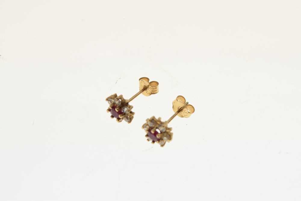 Pair of yellow metal cluster ear studs, - Image 4 of 4