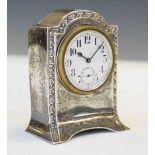George V silver cased Boudoir clock