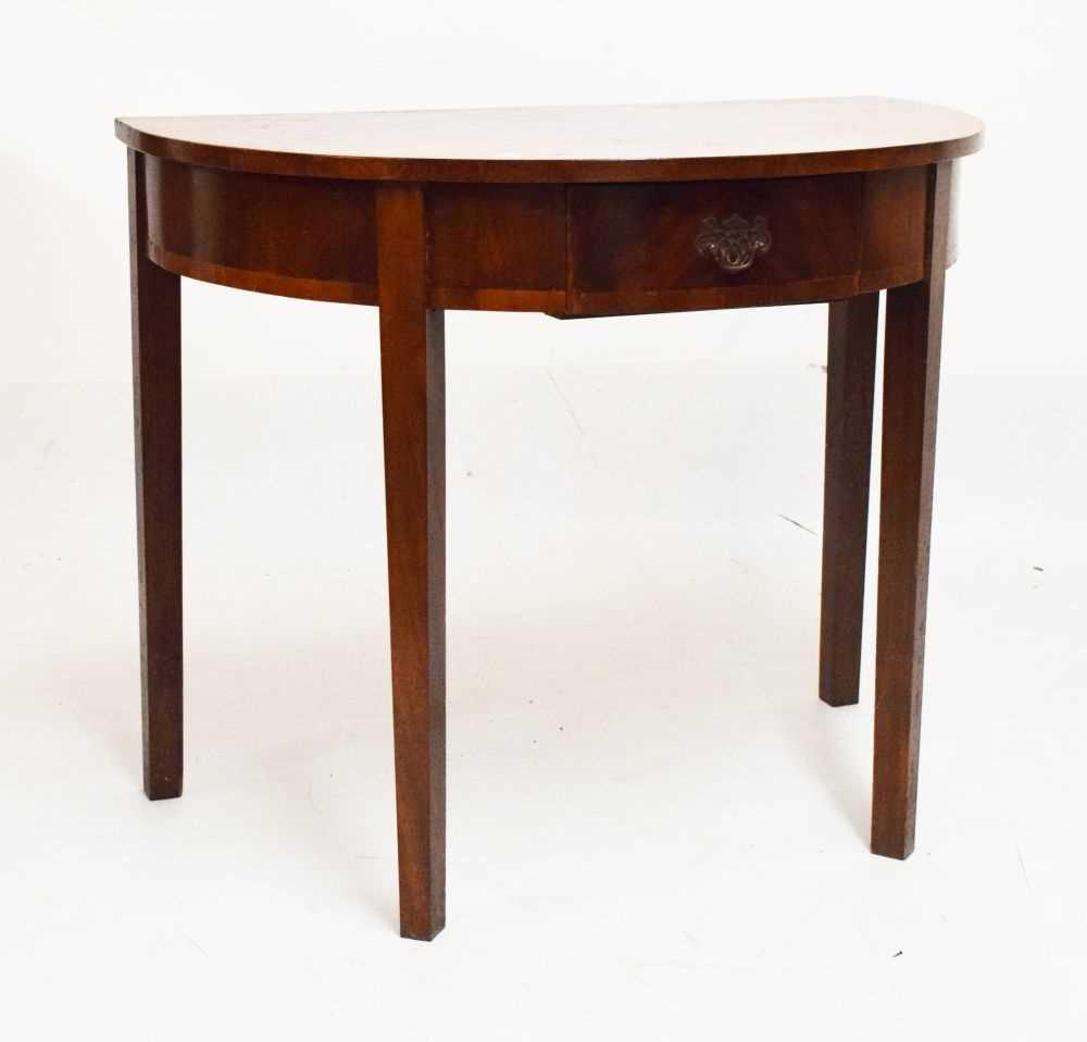 George III mahogany demi-lune side table