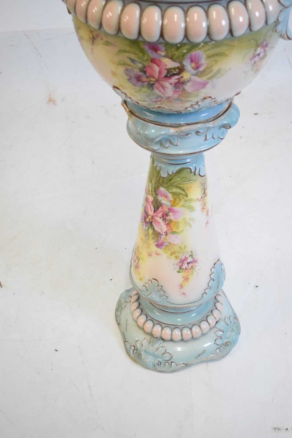Floral pottery jardiniere and stand - Image 3 of 4