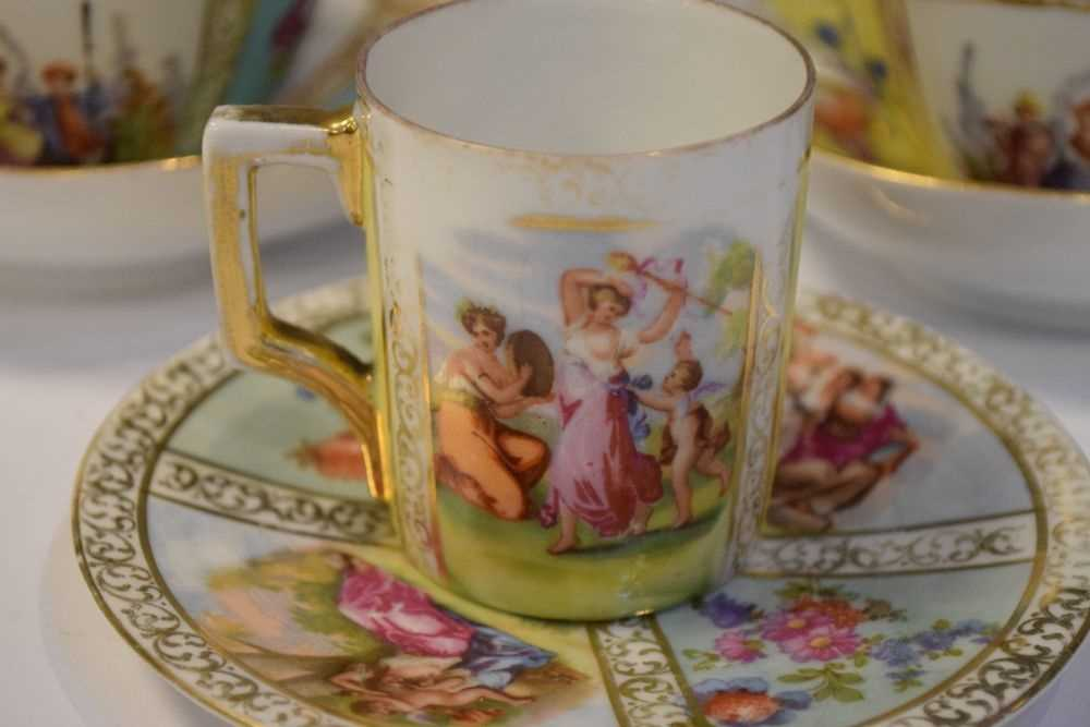 Two Dresden cups and saucers and Vienna style can and saucer - Image 2 of 7