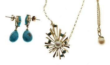 9ct gold, pearl and turquoise 'sunburst' pendant