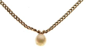 9ct gold curb chain, 41cm long approx, with single cultured pearl pendant