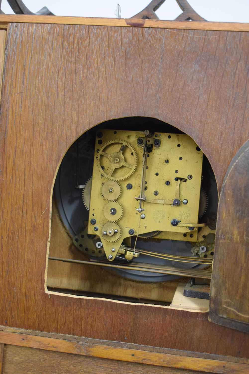 Early 20th Century oak-cased grandmother clock - Image 5 of 5