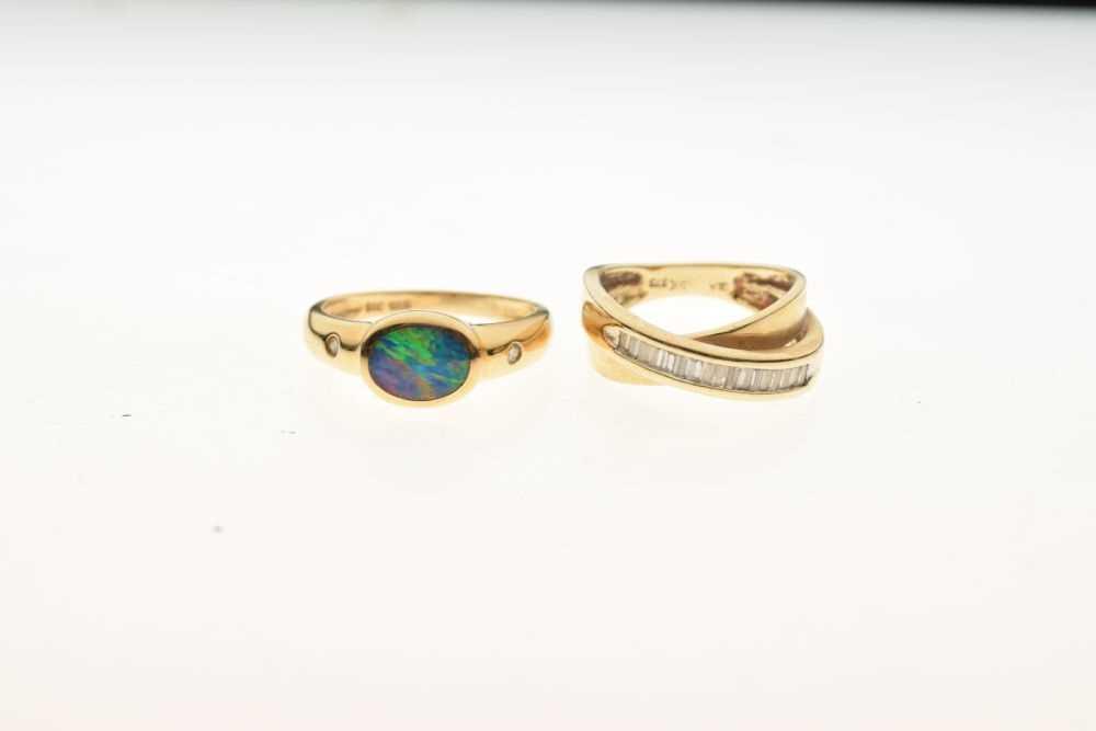 Dress ring set baguette cut diamonds, - Image 2 of 5