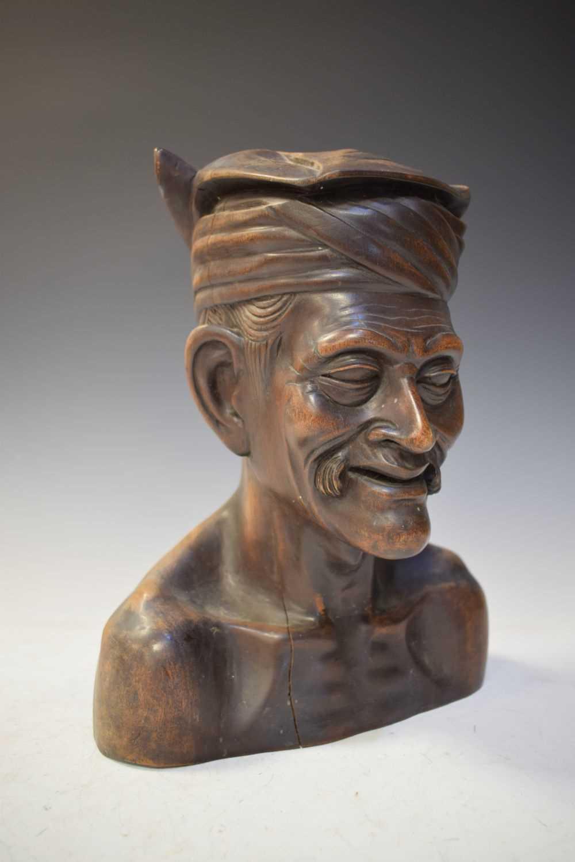 Carved hardwood bust