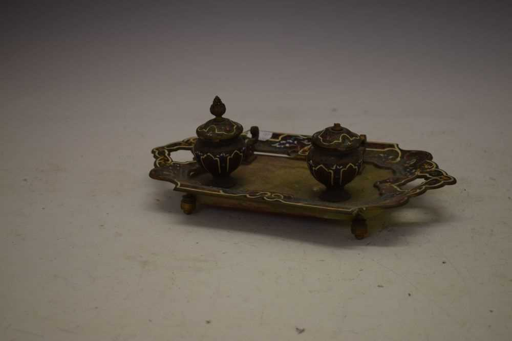 Green onyx and champleve enamel inkstand - Image 3 of 4