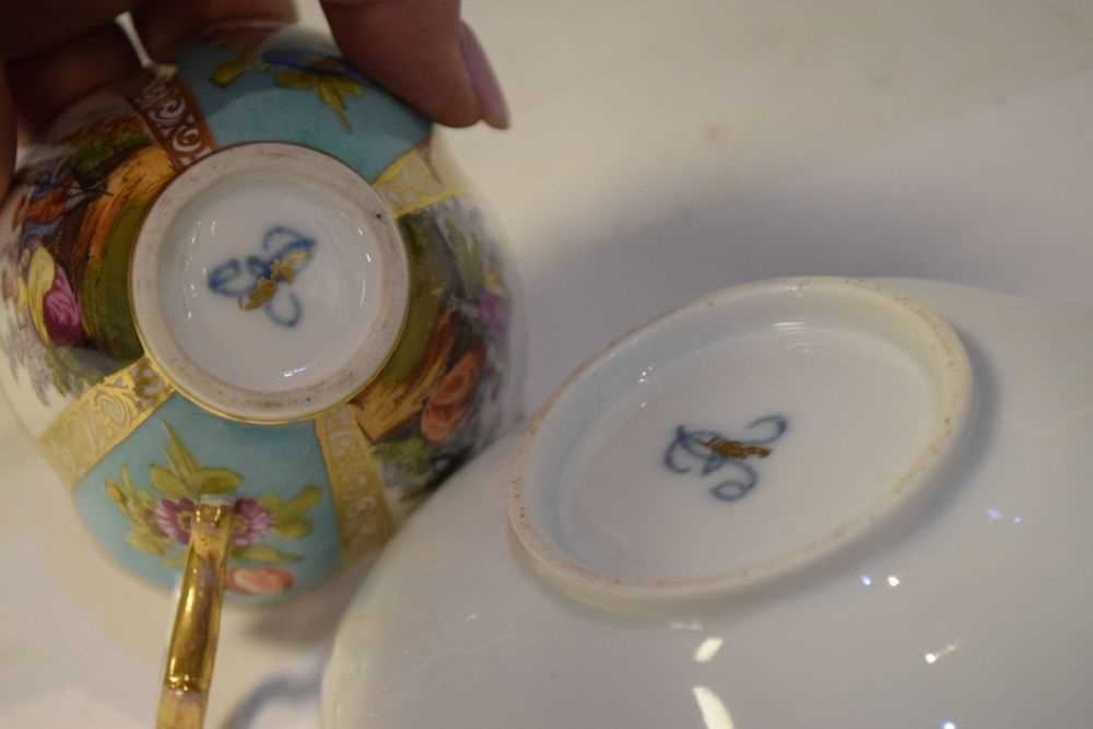 Two Dresden cups and saucers and Vienna style can and saucer - Image 7 of 7