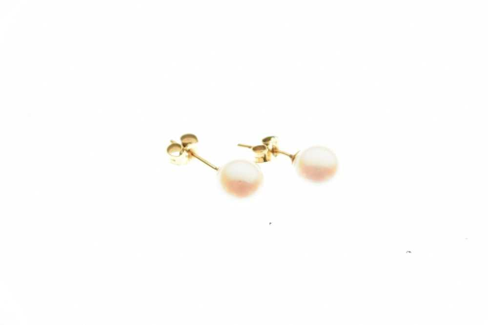 Pair of cultured pearl ear studs - Image 3 of 4