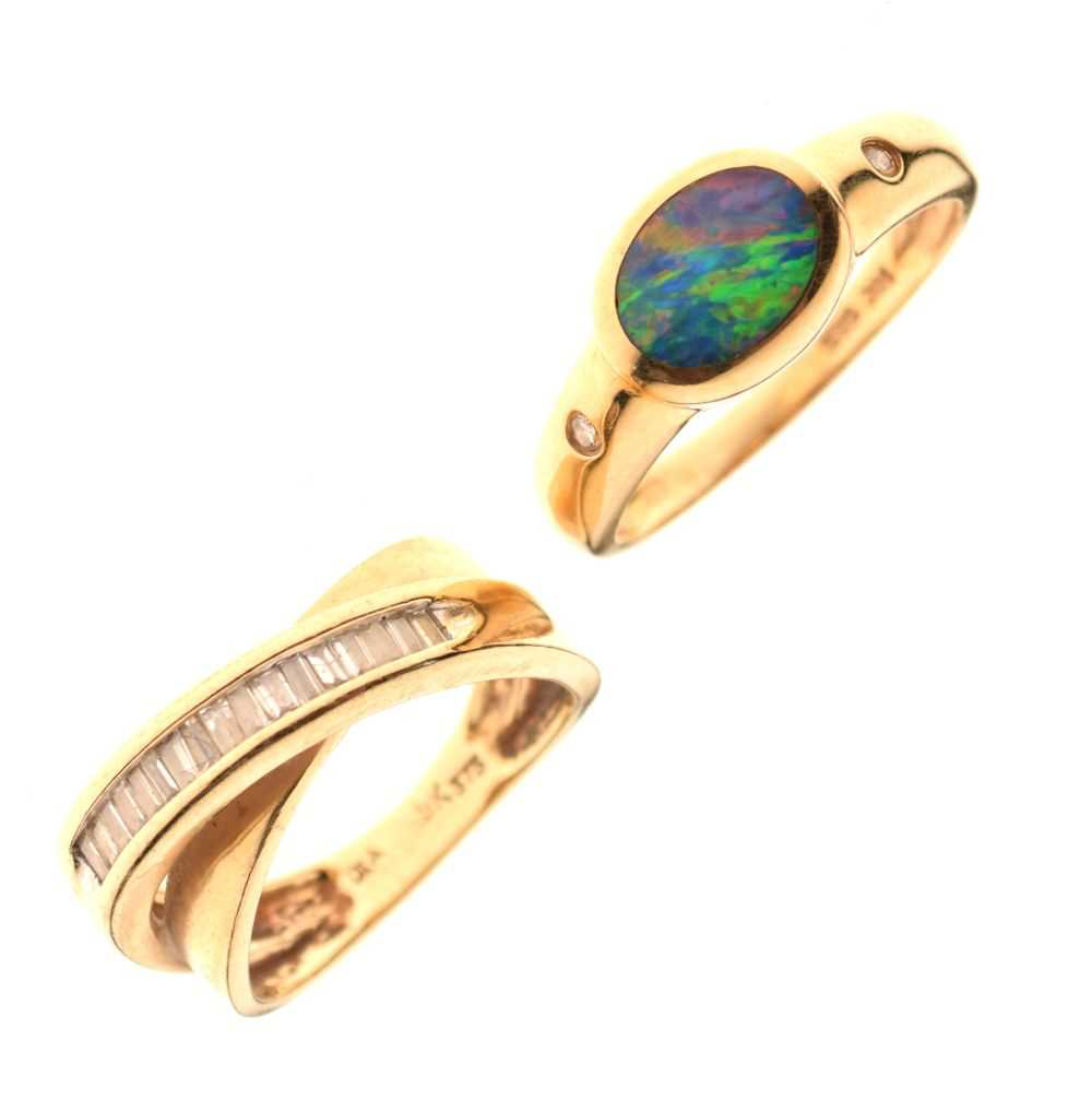 Dress ring set baguette cut diamonds,