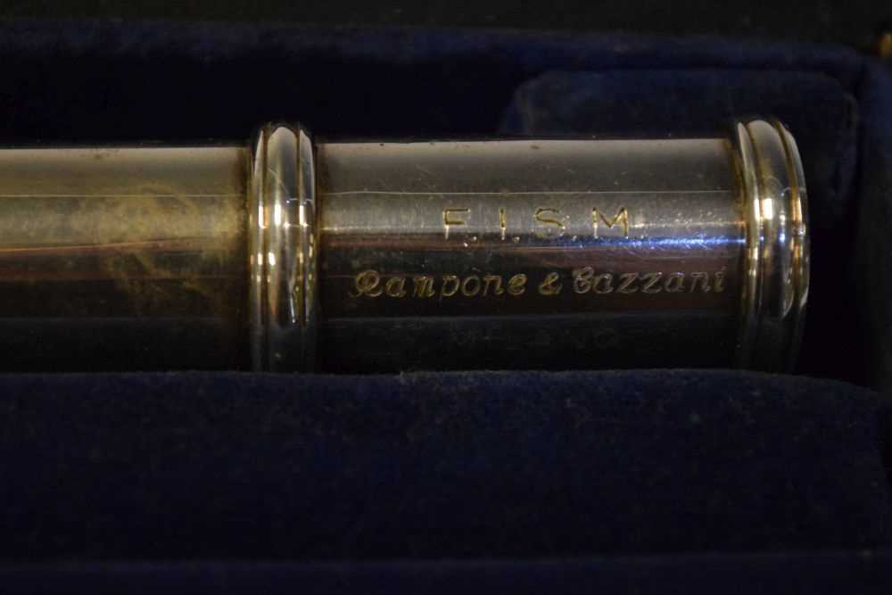 Cased nickel plated flute by Rampone & Cazzani, Milan - Image 2 of 5