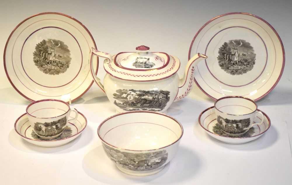 Puce lustre bat printed tea wares