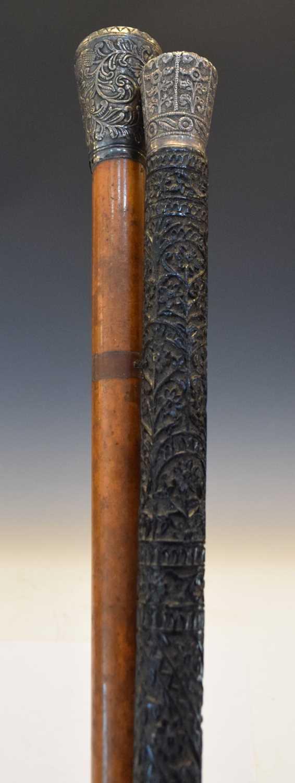 Indian carved ebony walking cane