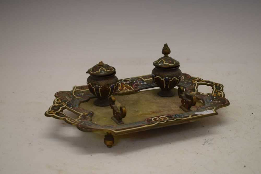 Green onyx and champleve enamel inkstand - Image 4 of 4