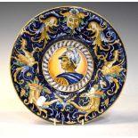 Italian maiolica portrait plate