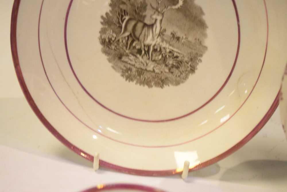 Puce lustre bat printed tea wares - Image 6 of 12