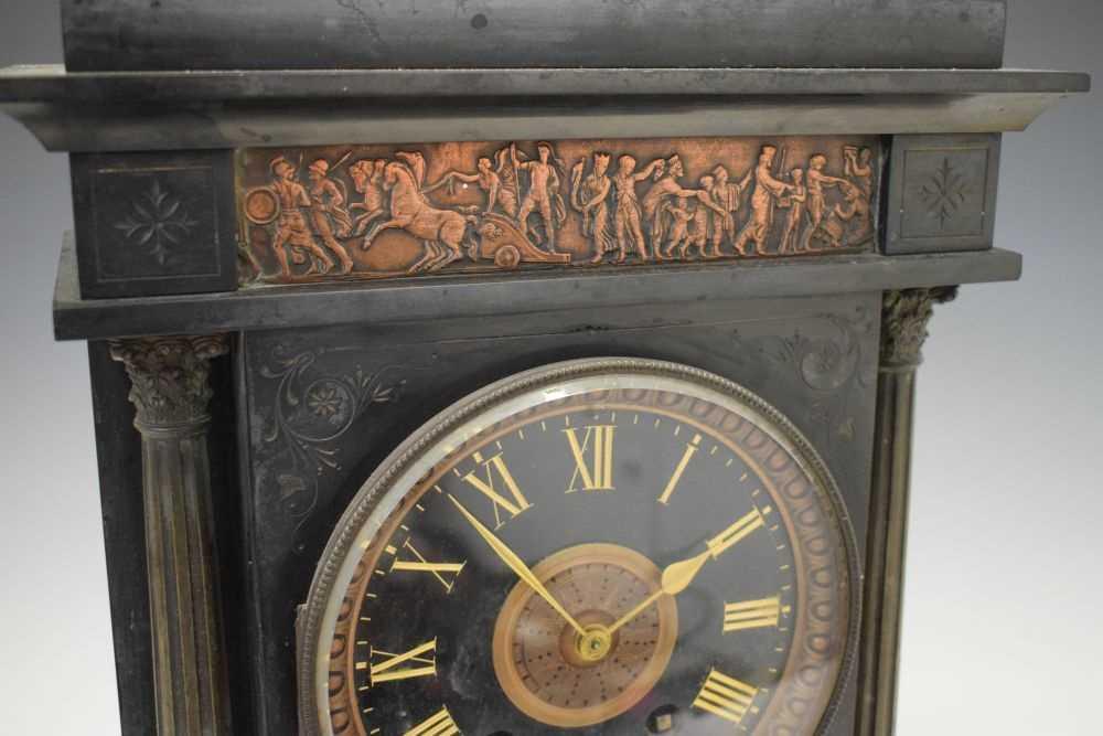 Large French black slate mantel clock - Image 2 of 7