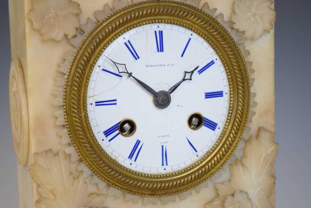19th Century French alabaster mantel clock, Hodgkins & Co, Paris, No. 7138 - Image 2 of 12