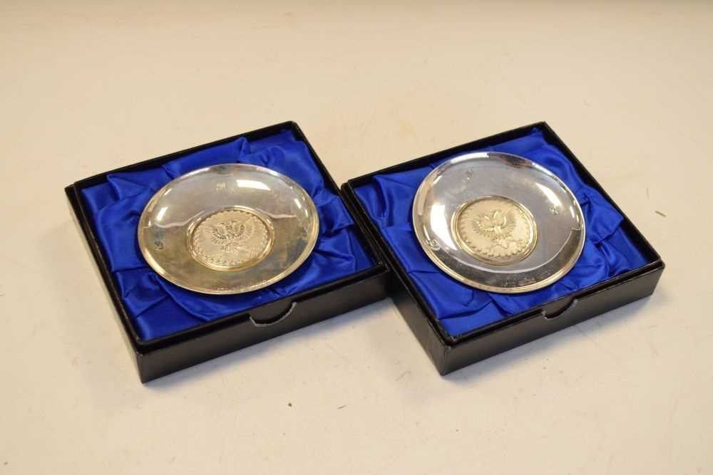 Pair of Elizabeth II Britannia standard silver pin dishes commemorating the 300th anniversary - Image 2 of 6