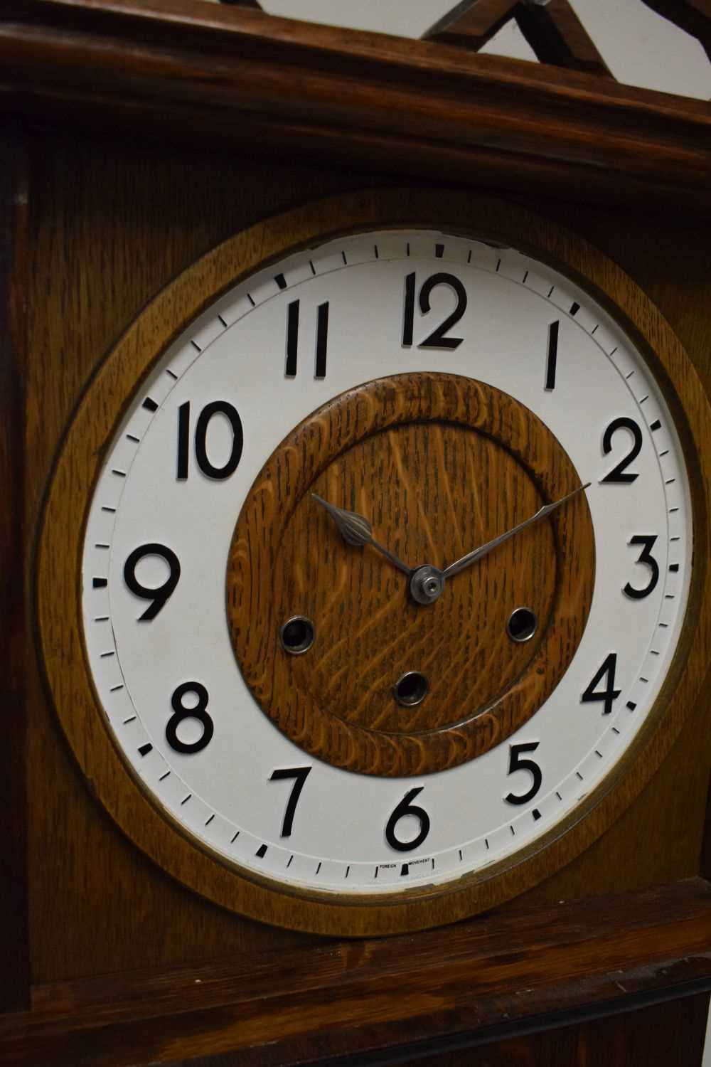 Early 20th Century oak-cased grandmother clock - Image 4 of 5