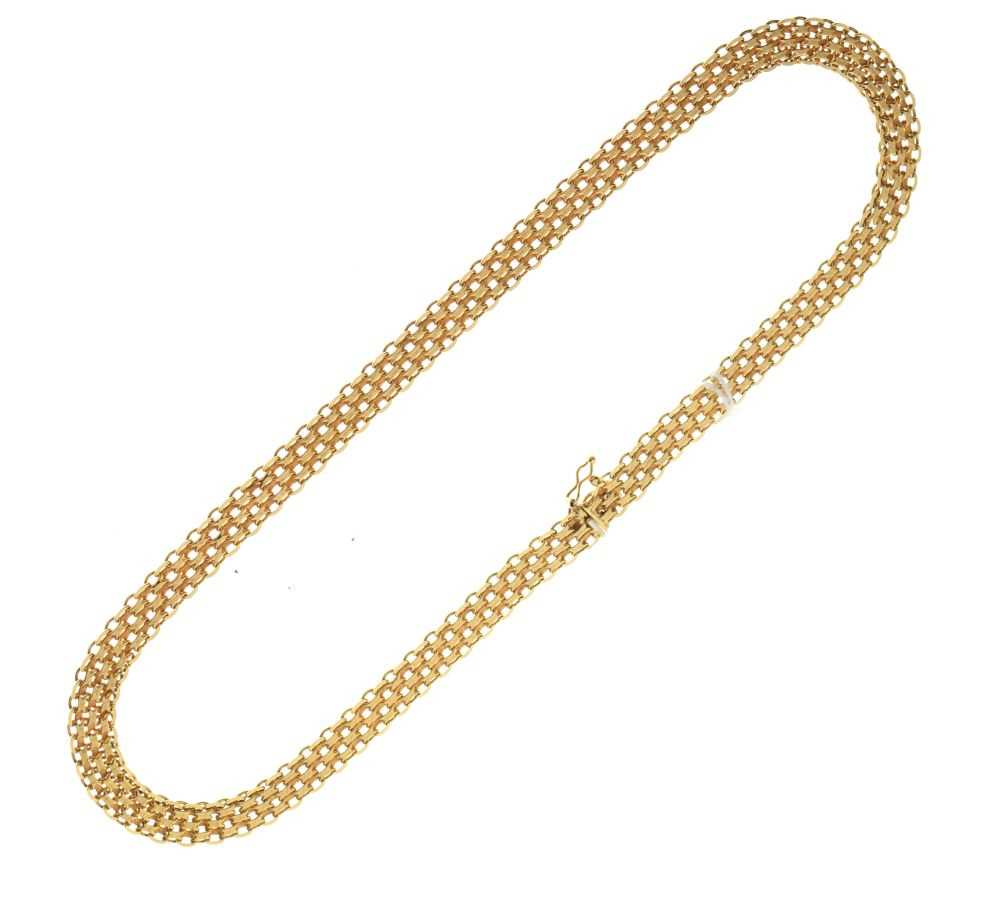 9ct gold fancy-link necklace/collar,