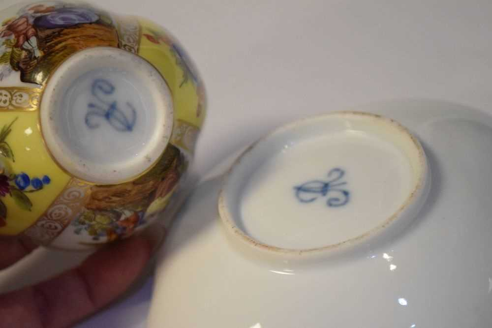 Two Dresden cups and saucers and Vienna style can and saucer - Image 6 of 7